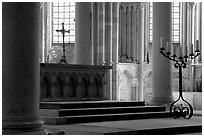 Altar inside of church of Vezelay. Burgundy, France (black and white)