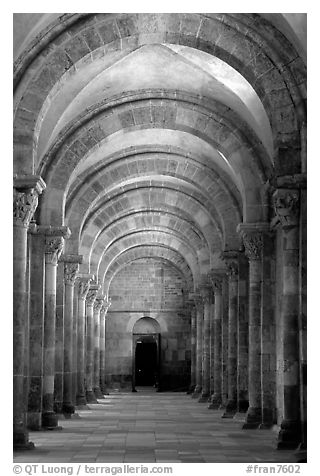 Aisle in the church of Vezelay. Burgundy, France (black and white)