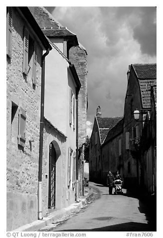 Old street in Vezelay. Burgundy, France (black and white)