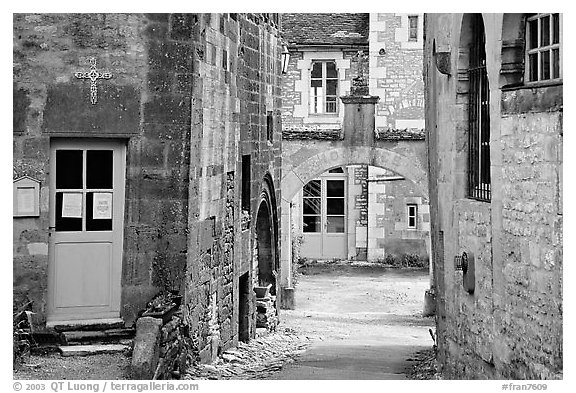 Church grounds, Vezelay. Burgundy, France (black and white)