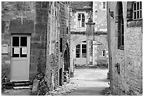 Church grounds, Vezelay. Burgundy, France ( black and white)