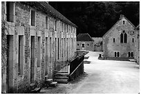 Abbaye de Fontenay, late afternoon (Fontenay Abbey). Burgundy, France ( black and white)