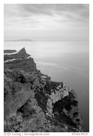 La Ciotat  seen from Route des Cretes. Marseille, France (black and white)