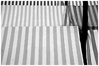 Cloth covers of market stands, Nice. Maritime Alps, France ( black and white)