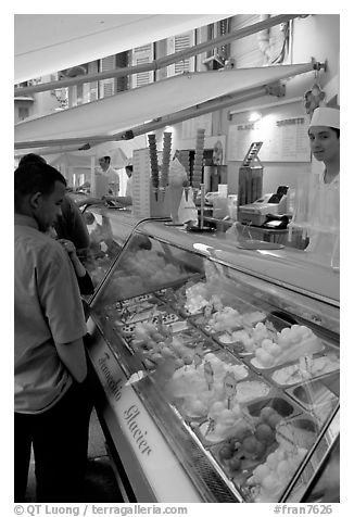 Ice cream parlor, Nice. Maritime Alps, France (black and white)