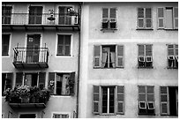 Houses painted in pastel colors, Nice. Maritime Alps, France ( black and white)