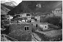 Ichack Village, Zanskar, Jammu and Kashmir. India (black and white)