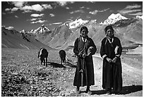 Women on trail near Padum, Zanskar, Jammu and Kashmir. India (black and white)