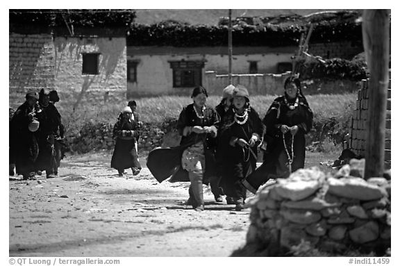 Group of villagers,  Zanskar, Jammu and Kashmir. India (black and white)