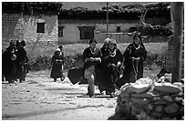 Group of villagers,  Zanskar, Jammu and Kashmir. India ( black and white)
