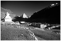 Kargiakh village, with Gumburanjan peak in the distance, Zanskar, Jammu and Kashmir. India (black and white)