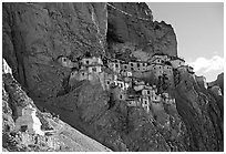 Phuktal gompa, Zanskar, Jammu and Kashmir. India (black and white)