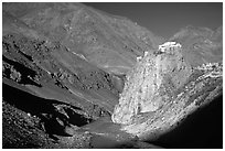 Bardan monastery at the entrance of Lungnak Valley, Zanskar, Jammu and Kashmir. India ( black and white)