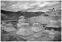 Chortens in monestary, Padum, Zanskar, Jammu and Kashmir. India (black and white)