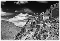 Perched monastary, Ladakh, Jammu and Kashmir. India (black and white)