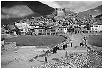 Padum, Zanskar, Jammu and Kashmir. India (black and white)