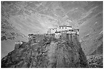 Bardan monastery, Zanskar, Jammu and Kashmir. India (black and white)