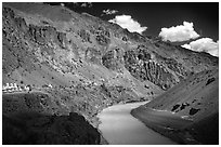 Tsarap River and Phugtal monastery, Zanskar, Jammu and Kashmir. India (black and white)