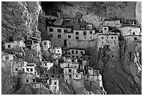 Phugtal gompa, Zanskar, Jammu and Kashmir. India (black and white)