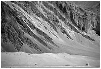 Chorten and mountain slopes, Zanskar, Jammu and Kashmir. India (black and white)