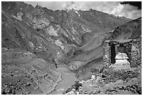 Covered chorten river valley, Zanskar, Jammu and Kashmir. India (black and white)