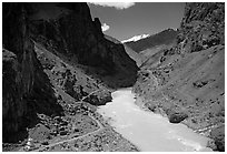 Chorten, trail,  and river valley, Zanskar, Jammu and Kashmir. India ( black and white)