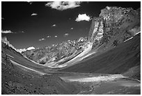 Zanskar Valley flanked by Gumburanjan monolith, Zanskar, Jammu and Kashmir. India ( black and white)