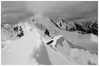 Snowy ridge above Shingo La, Zanskar, Jammu and Kashmir. India ( black and white)