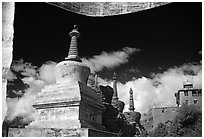 Chortens and  prayer flags, Lahul, Himachal Pradesh. India ( black and white)