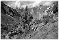 Monestary, Lahaul, Himachal Pradesh. India (black and white)