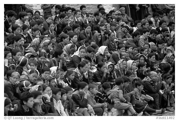 Crowd watching a performance, Keylong, Himachal Pradesh. India (black and white)