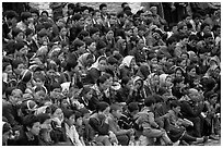 Crowd watching a performance, Keylong, Himachal Pradesh. India ( black and white)