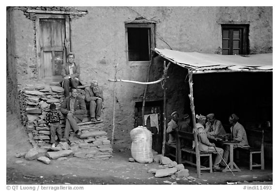 House and eatery, Himachal Pradesh. India (black and white)