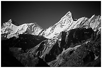 Snowy peaks, Himachal Pradesh. India (black and white)