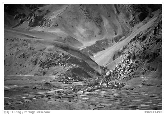 Cultivated fields, village, gompa, and barren mountains, Zanskar, Jammu and Kashmir. India (black and white)