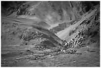 Cultivated fields, village, gompa, and barren mountains, Zanskar, Jammu and Kashmir. India ( black and white)