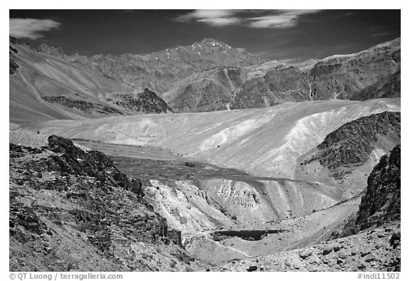 Multi colored mountains, Zanskar, Jammu and Kashmir. India (black and white)