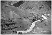 Zanskar River valley with cultivation patches, Zanskar, Jammu and Kashmir. India (black and white)