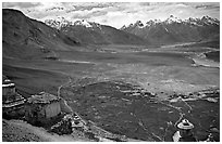 Chortens overlooking cultivations in the Padum plain, Zanskar, Jammu and Kashmir. India ( black and white)