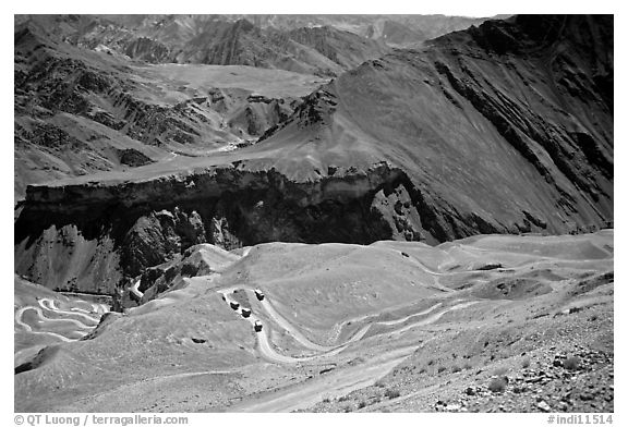 Hairpin turns on Khadung La pass, Ladakh, Jammu and Kashmir. India