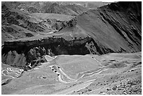 Hairpin turns on Khadung La pass, Ladakh, Jammu and Kashmir. India (black and white)