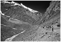 Valley and road between Kargil and Padum, Ladakh, Jammu and Kashmir. India ( black and white)