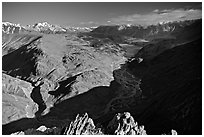 Braided river and mountain range seen from high pass, Himachal Pradesh. India ( black and white)