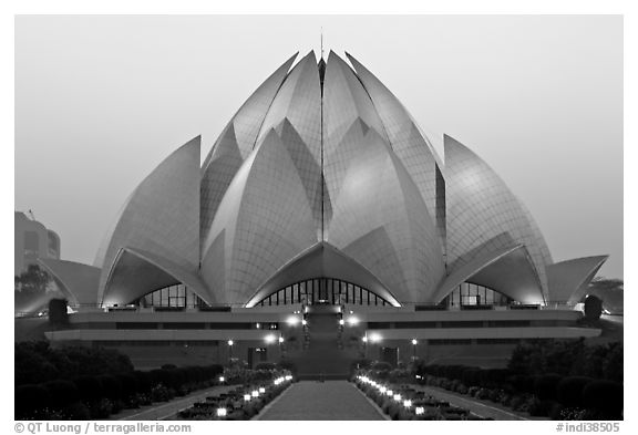 Bahai temple at dusk. New Delhi, India (black and white)