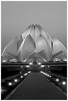 Bahai faith temple at twilight. New Delhi, India (black and white)