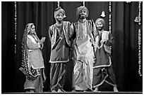Traditional dances. New Delhi, India (black and white)