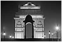 India Gate by night. New Delhi, India ( black and white)