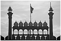 Turrets above Lahore Gate, Red fort, sunrise. New Delhi, India (black and white)