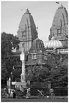 Hindu shrine. New Delhi, India (black and white)