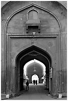 Gate leading to the Chatta Chowk (Covered Bazar), Red Fort. New Delhi, India (black and white)